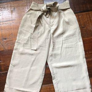 Tie waist crop wide leg pants